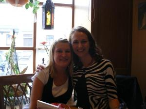German Au Pair Nicole and Nadia at a Cafe in Beilngries